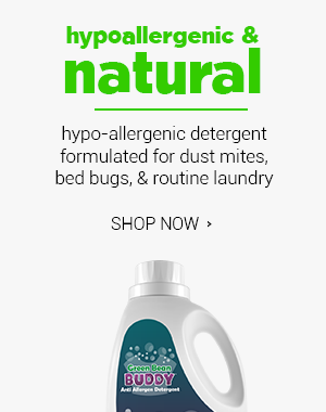 Hypo allergenic laundry detergent to treat dust mites, bed bugs, fleas, fungus, mold and more