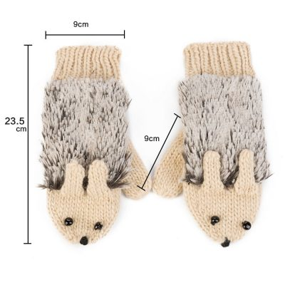 Knitted Adorable Hedgehog Mittens