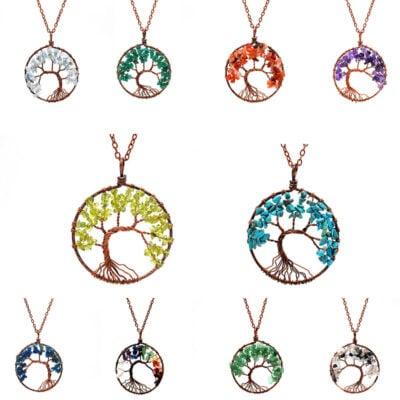 Meditation Tree Crystal Reiki Stone Pendant with Chain